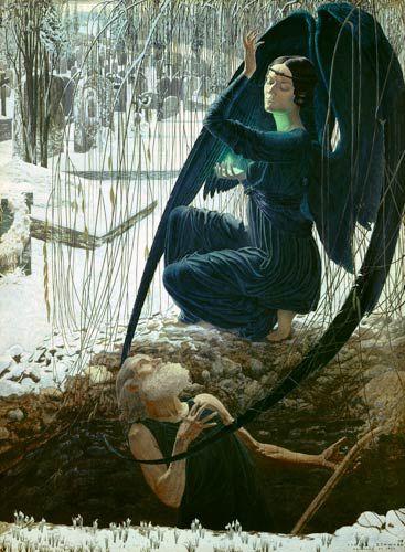 Carlos Schwabe, La morte e il becchino, 1895-1900, Parigi, Museo del Louvre