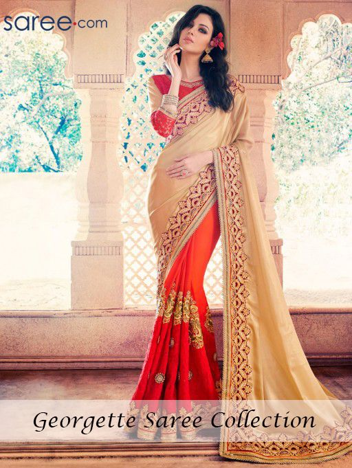 BEIGE AND ORANGE GEORGETTE SAREE WITH EMBROIDERY WORK