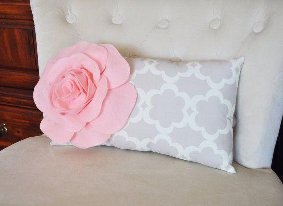 Cuscino lombare luce rosa in Taupe neutro / grigio Tarika lombare cuscino 9 x 16 - traliccio traliccio-