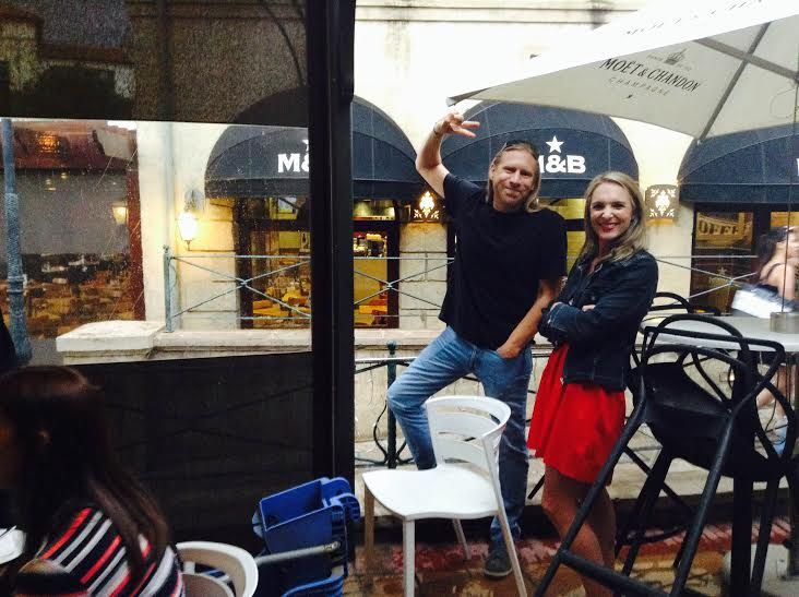 Murray and Cara enjoying the summer drizzle before the big meal... #quartertoholidaymood #2015yearendfunction