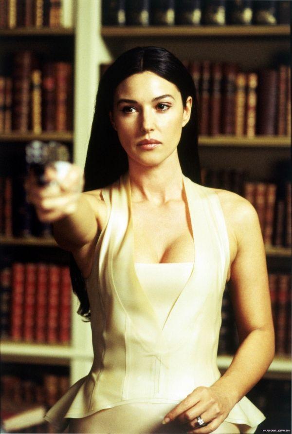 Red dress woman matrix actress with white rabbit