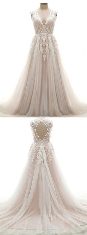 Elegant A-line Wedding Dress - V-neck Chapel Train Pink Tulle Appliques Sequins Sleeveless Backless Zipper-up