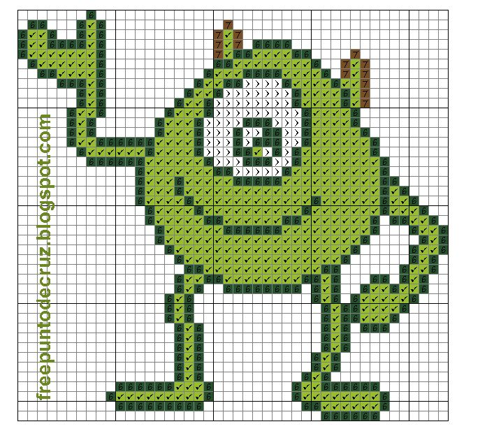 Dibujos Punto de Cruz Gratis: Mike Wazowski Monster Inc - cross stitch - Punto de cruz