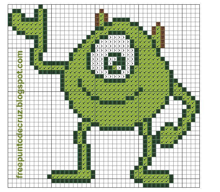 Dibujos Punto de Cruz Gratis: Mike Wazowski Monster Inc - cross stitch - Punto de cruz