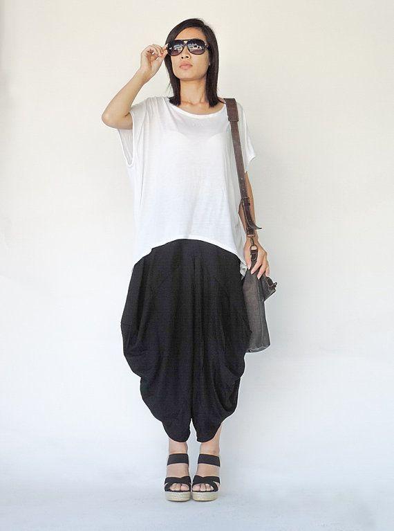 NO.126  Black Boho Drop Crotch Harem Pants, Asymmetrical Casual Loose Fit Capri Trousers