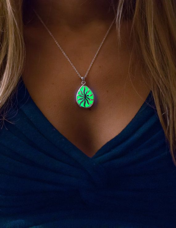 Green Glowing Necklace Glowing Jewelry Glow by EpicGlows on Etsy