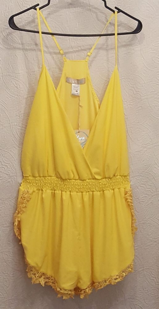 Ladies Yellow Shorts Romper with Lace Trim by HWA Size Large #HWA #Romper