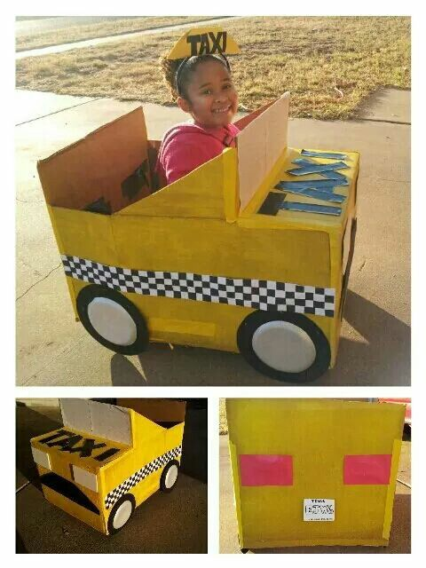 Cardboard Car Tutorial - This is my daughter's taxi we made for a transportation parade at school. Fun to make! Link posted in comments ☺