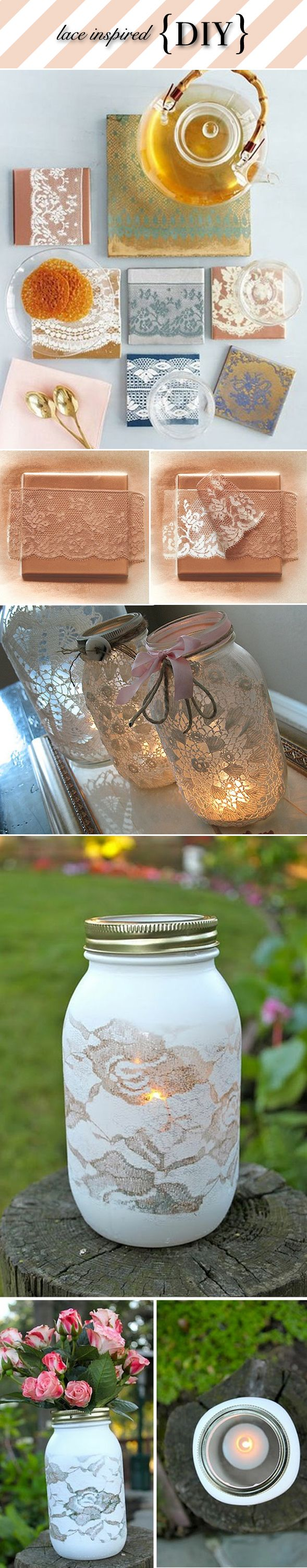DIY Lace Mason Jar Candles diy crafts