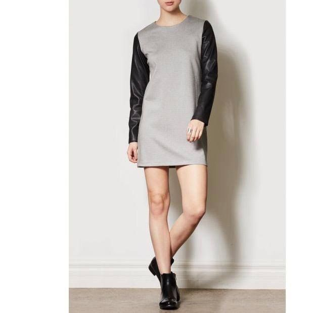 Grey and leather dress by Pink Martini Collection, Basic dress. Fall-winter fashion. Outfit inspiration. Shop the dress at forevermlle.com, Canadian online store.