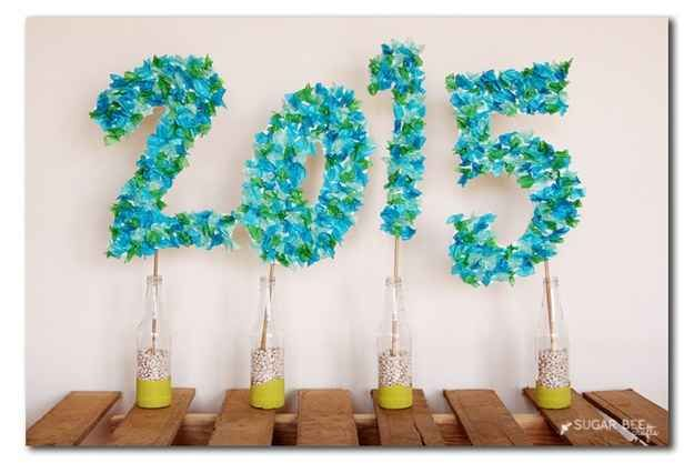 DIY these tissue paper numbers in your school colors to mark the year of graduation.