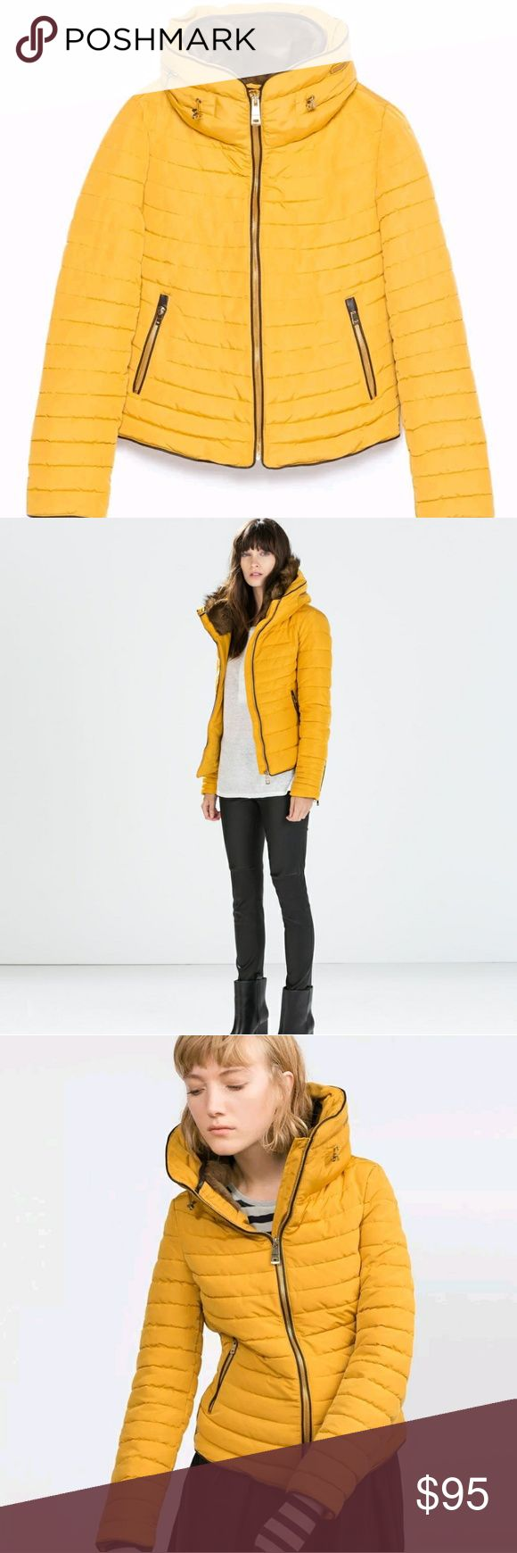 ZARA YELLOW MUSTARD PUFFER JACKET NWT WILLING TO TRADE FOR A LARGE SAME COLOR SAME CONDITION Zara Jackets & Coats