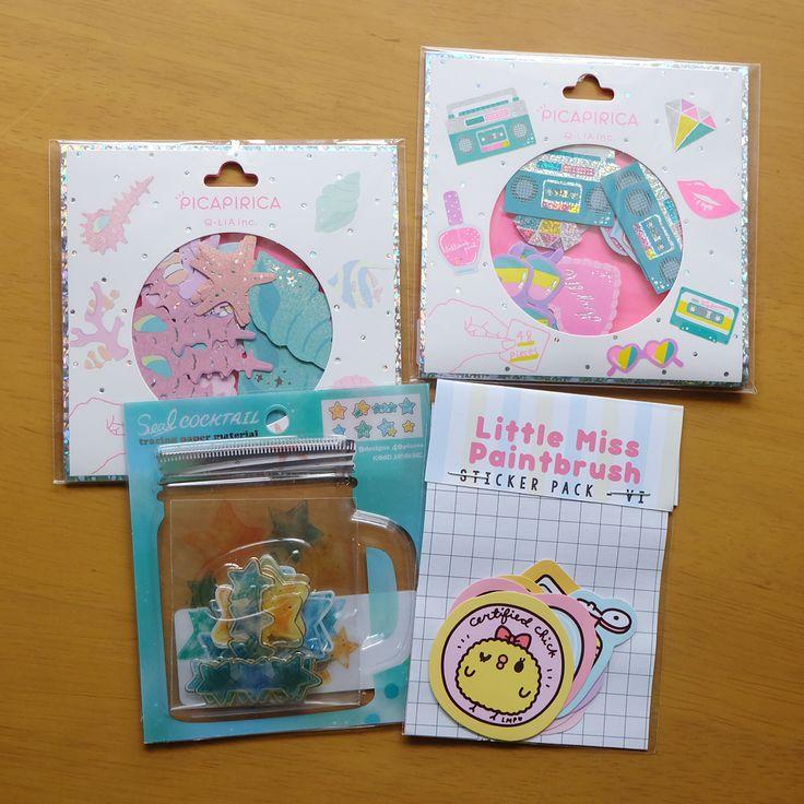 Premium Kawaii Sea Corals Radio Pop Stars Seal Cocktail Little Miss Paintbrush Hologram Stickers Stationery Set