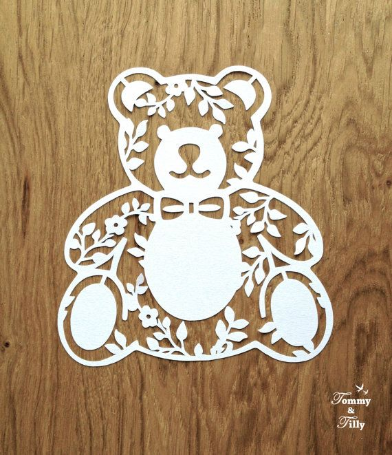 3 x Teddy Bear Designs - Papercutting Template to print and cut yourself (COMMERCIAL USE)