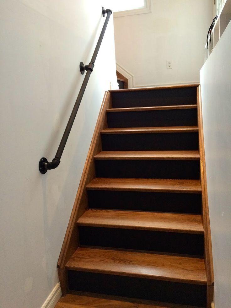 gas pipe railing walnut stairs black risers gas pipes rh pinterest com