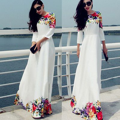 2015 Kaftan Abaya Jilbab Islamic Muslim Cocktail 3/4 Sleeve Vintage Maxi Dress