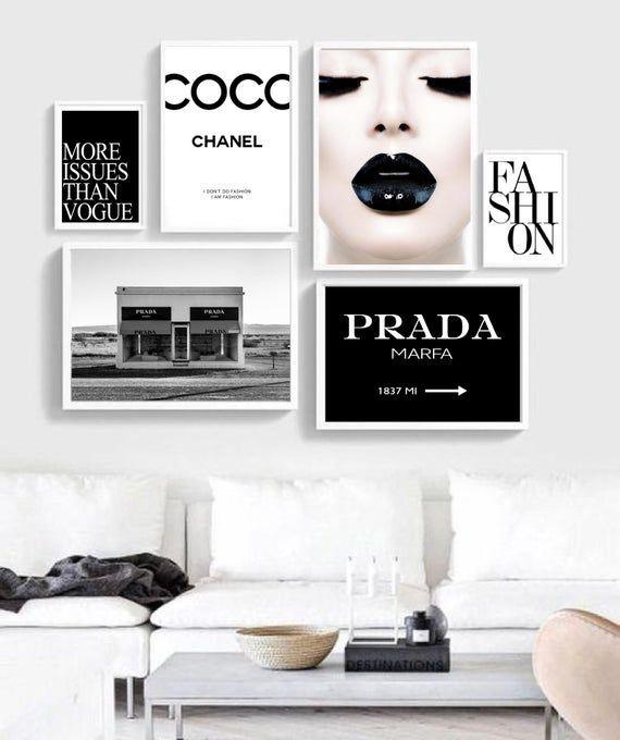 Ensemble De 6 Wall Art Affiches Fashion Coco Chanel Art Mural