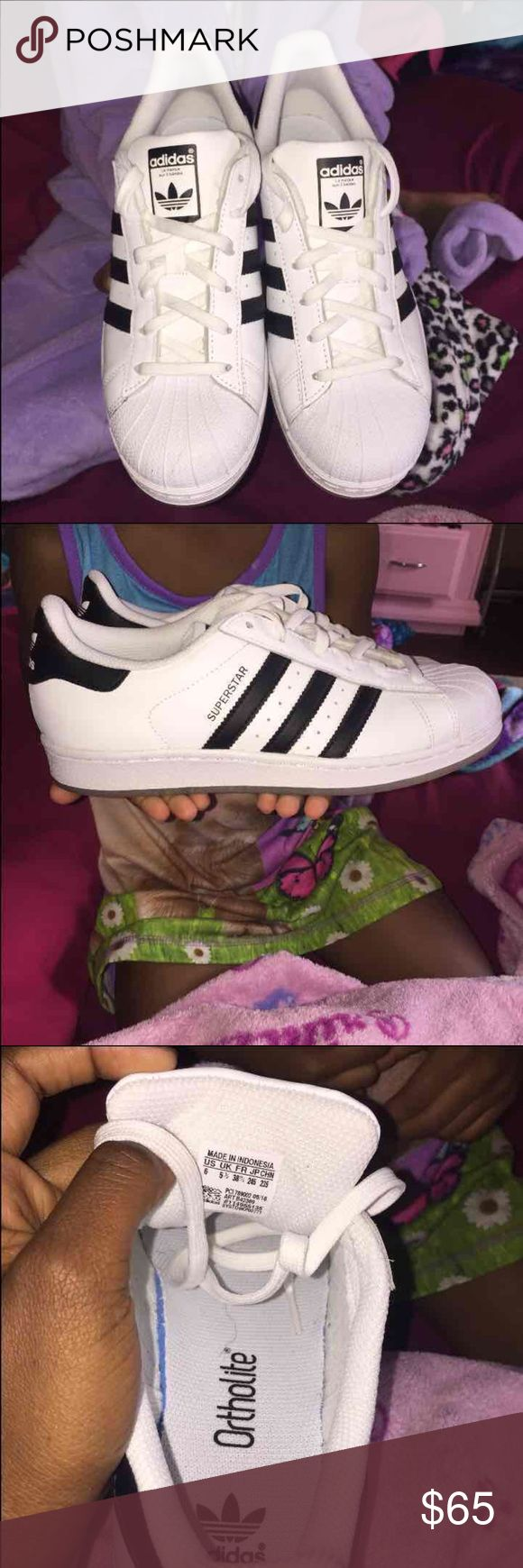 Original Adidas superstar - Size 6 men's/ 7.5 women's  - Worn once - no signs of wear and tear at all - Retail for $80 plus tax  * will include the box and all original packaging Adidas Shoes Sneakers