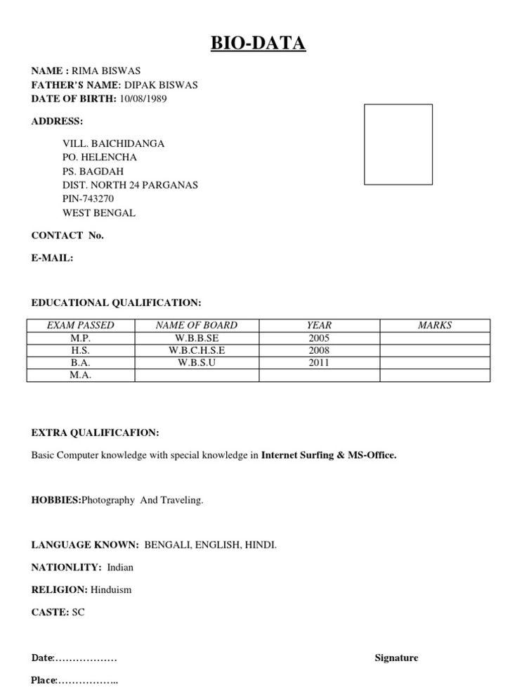Image Result For Biodata In English Format Biodata