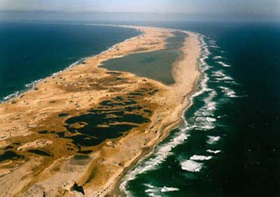 The mysterious Sable Island, actually at 42km sandbar!!  Only 1.5km wide.