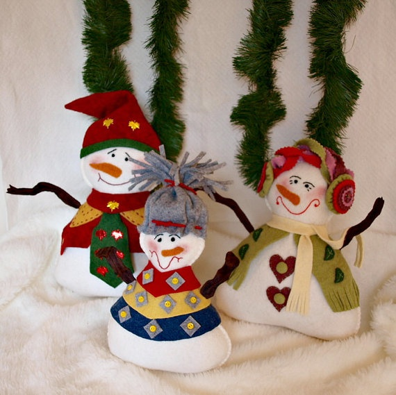 Snowman Family Made From Wool Felt