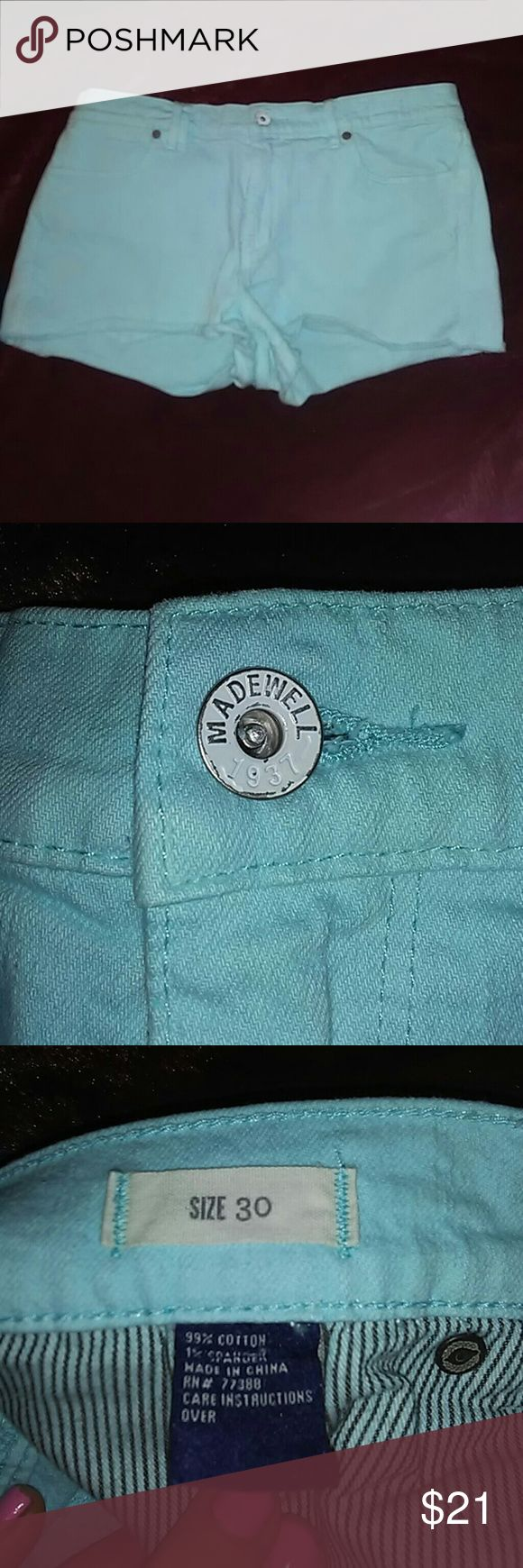 Madewell size 30 aqua blue jean shorts These adorable Madewell aqua blue short shorts are super cute and well made. This is a re-posh as i am in my 30's and short shorts are not my jam anymore...but you girls in your 20's can rock 'em!! Super good pre-owned condition as i only wore them around my house...(thinking of my younger years..sigh) LOL. Anyway. Bundle and Save! I LOVE offers and will love you if you make one! Madewell Shorts Jean Shorts