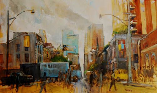 "Daniel Dubois, King East, oil on canvas, 36""x60"". $2450 framed"