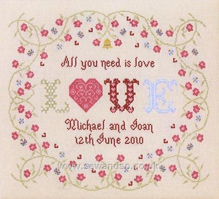 All You Need Is Love Wedding Sampler