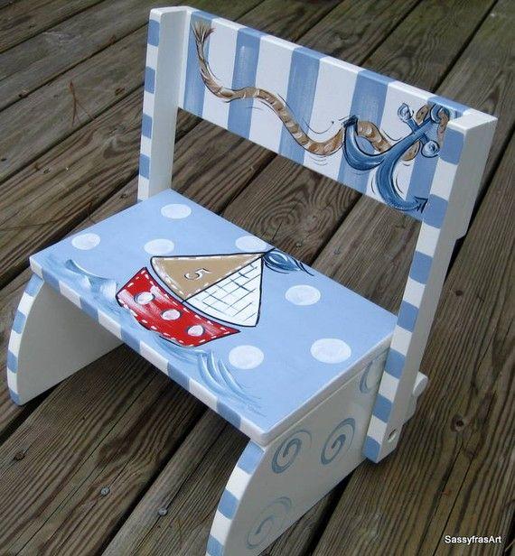 Children's  Sailboat Step Stool by SassyfrasDesignz on Etsy, $49.99 such cute kiddies furniture on this site