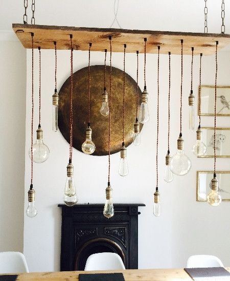 """17 Pendants on 47"""" x 12"""" Reclaimed Wood. - Custom made to order - See photos for available options - Shown with a mix of Antique Bulbs - NEW LEDs available! - Standard lengths are varied from 15-35 in"""
