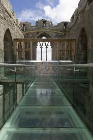 The Glass Bridge at the 12th century Oystermouth castle -Wales, UK