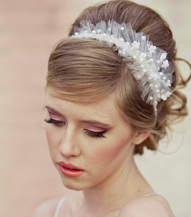 wedding headband, net and pearls. $85.00, via Etsy.
