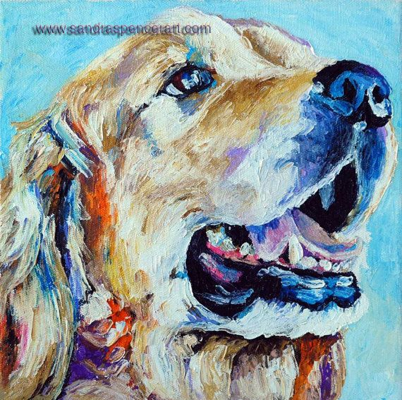Original Golden Retriever Oil Painting 10x10 dog painted by knife