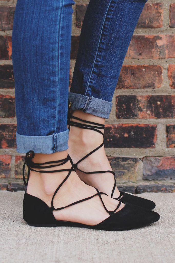 Black Almond Toe Lace Up Faux Suede Flat   UOIonline.com: Women's Clothing Boutique
