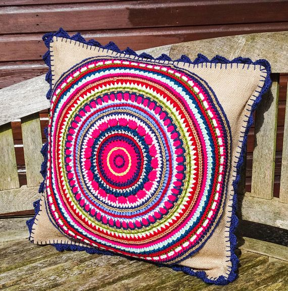 Mandala inspired crochet and burlap cushion in bright pinks