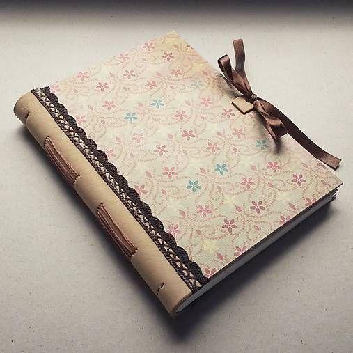 ardeas / Zápisník s koženým chrbtom A5 - vanilka