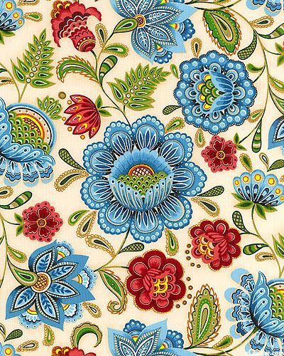 Windsor - Siberian Garden - Vanilla. This pattern has given me an idea for a curtain, let's see how it progresses!