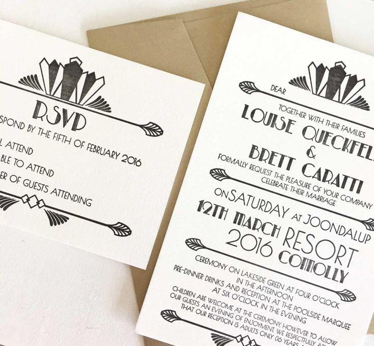 Art Deco Wedding Invitation Letterpress Wedding Invitation Gatsby Wedding by CocoPress on Etsy https://www.etsy.com/au/listing/289180159/art-deco-wedding-invitation-letterpress