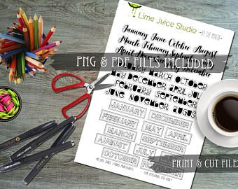 ByTheMonth-PrintableStickers-Digital Download-WordStickers-ProjectLife-Scrapbooking-Prin&Cut-PNG/PDF/SVG plus **free** Silhouette Cut File