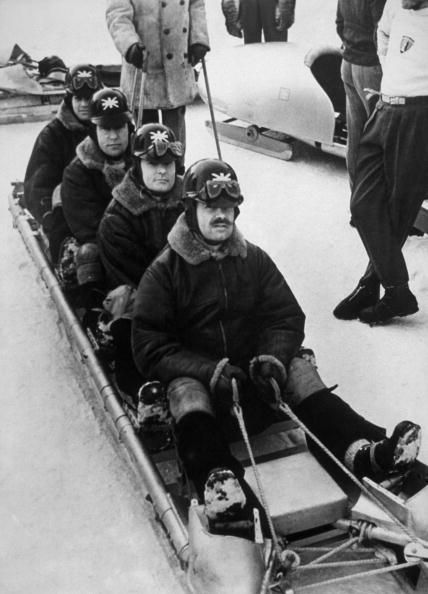 Team GB's bobsleigh team prepare for the Cresta Run during the 1948 St Moritz winter Olympics.