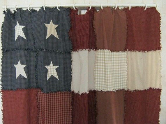 Americana Raggy Shower Curtain By Kbardo On Etsy, $75.00