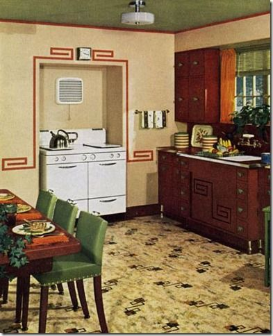 1940 kitchen | 1940s Kitchen Rendering from Antique Home Neat alcove for stove.