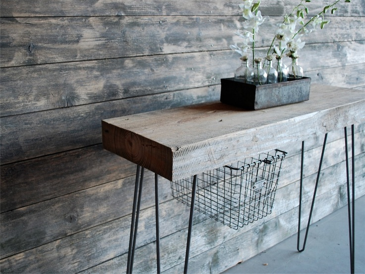 Amazing Industrial Console Table With Thick Reclaimed Wood Top, Hairpin Legs.(freeu2026