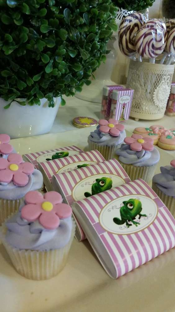 Candy and cupcakes at a Tangled birthday party! See more party ideas at CatchMyParty.com!