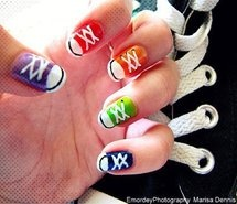 cute for back-to-school nails!Convers Nails, Nails Art, Nailart, Cute Nails, Nails Design, Sneakers Nails, Nails Polish, Converse Nails, Shoes Nails