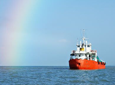 Ship and rainbow.