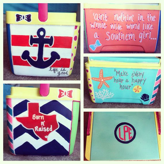 Customized Hand Painted Cooler by LPEdesigns on Etsy, $65.00