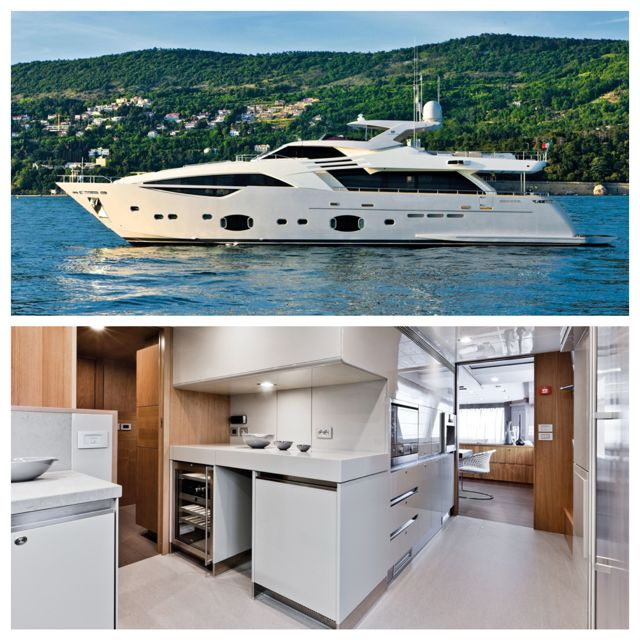 Summer is here and who could resist a day on-board the Ferretti Custom Line 100'? With sleek and modern lines, the Ferretti is complete with a Convivium style kitchen in a glossy pale grey lacquer finish, completely customized with a bio waste disposal and compactor unit as well as a stainless steel Artusi canopy shelf with remote extraction.