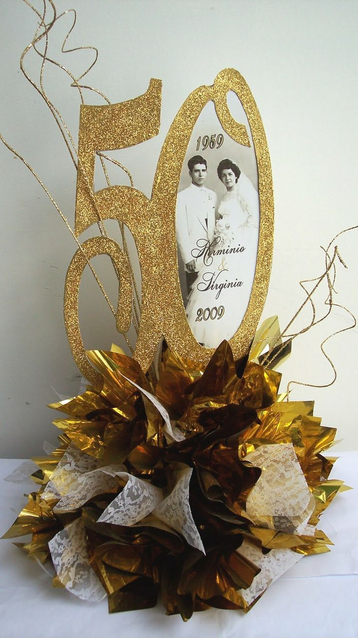 17 best ideas about 50th anniversary centerpieces on for Anniversary decoration at home