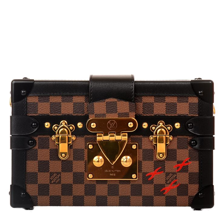 Louis Vuitton Damier Ebene Petite Malle - Louis Vuitton Brown checkered Damier Ebene Petite Malle of coated canvas with black smooth leather trim.  This style features golden brass hardware, black metal corners, a foldover strap with LV S-lock closure and a removable adjustable shoulder strap.  The interior is lined in a beige lambskin leather with a black quilted pattern at the back and has an open pocket.  Collection: 2014  Origin: Italy  Condition: Pristine; store fresh condition…